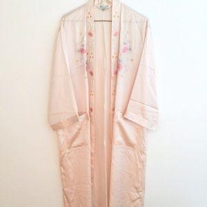 100% silk embroidered robe